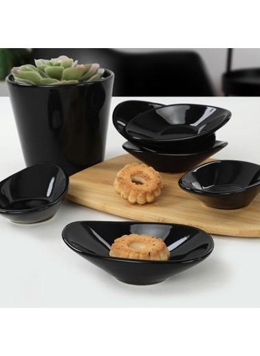 Keramika Siyah Dalga Çerezlik/Sosluk 12 Cm 6 Adet Renkli